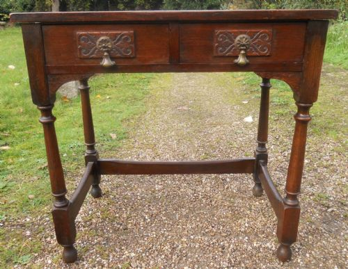 Antique Style Oak Two Drawer Side Table